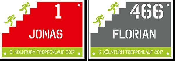 Startnummern KölnTurm Treppenlauf