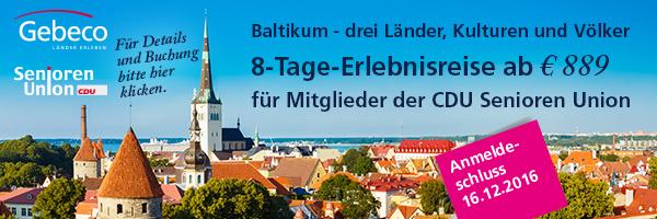 Baltikum – drei Länder, Kulturen und Völker 8-Tage-Erlebnisreise ab 889€ für Mitglieder der CDU Senioren Union
