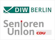 Das Bild zeigt das Logo der DIW Berlin und das Logo der Senioren Union
