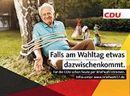 Wahlplakat der CDU mit dem Thema Briefwahl