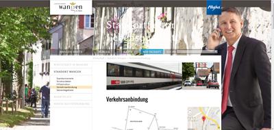 Die Homepage www.wangen.de zeigt, wie man nach Wangen ins Allgäu kommt.