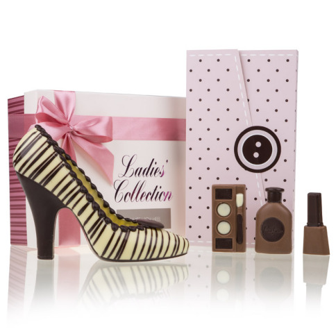 Geschenkset Choco High-Heel White & Vanity Chocolates Dots