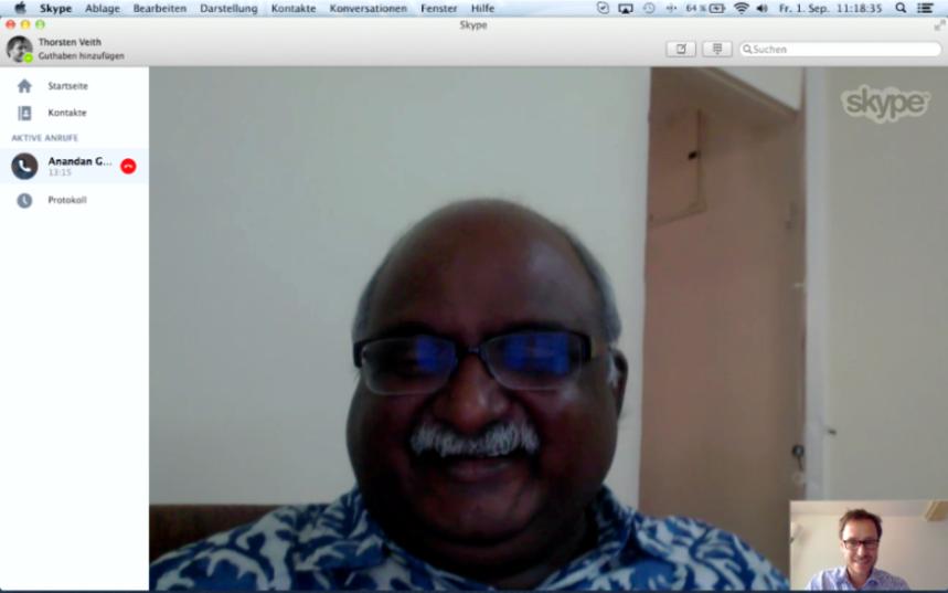 Anandan Geethan und Thorsten Veith via Skype