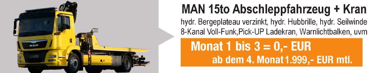15to MAN Abschleppwagen mit Kran und Bergeplateau