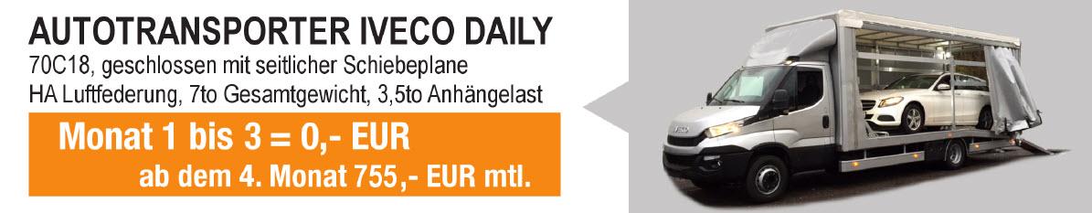 7to Iveco Daily Autotransporter mit geschlossenen Aufbau