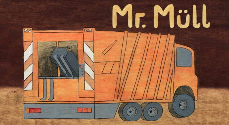 Deckel der Müllkiste Mr. Müll - Gestaltung: Katja Ch. Bielstein, Quelle: umweltschulen.de