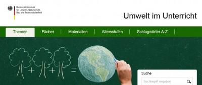 Ausschnitt der Seite Umwelt im Unterricht. Quelle: umwelt-im-unterricht.de