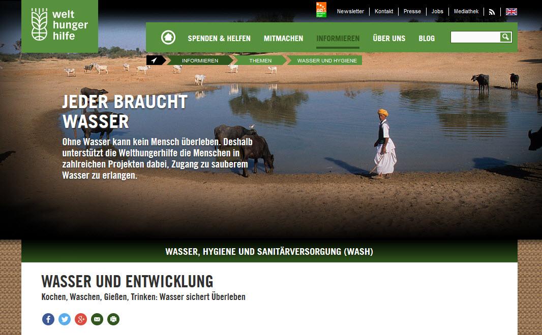 Screenshot Themenseite Wasser. Quelle: welthungerhilfe.de