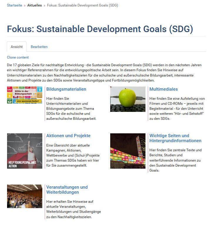 Screenshot Fokus SDG. Quelle: globaleslernen.de