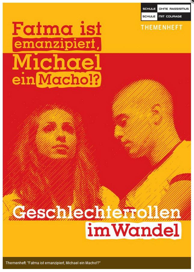 """Titelseite Themenheft: """"Fatma ist emanzipiert, Michael ein Macho!?"""". Quelle: schule-ohne-rassismus.org"""