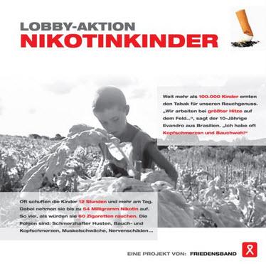 Der Flyer zur Lobby-Aktion. Quelle: http://tabak.friedensband.de/
