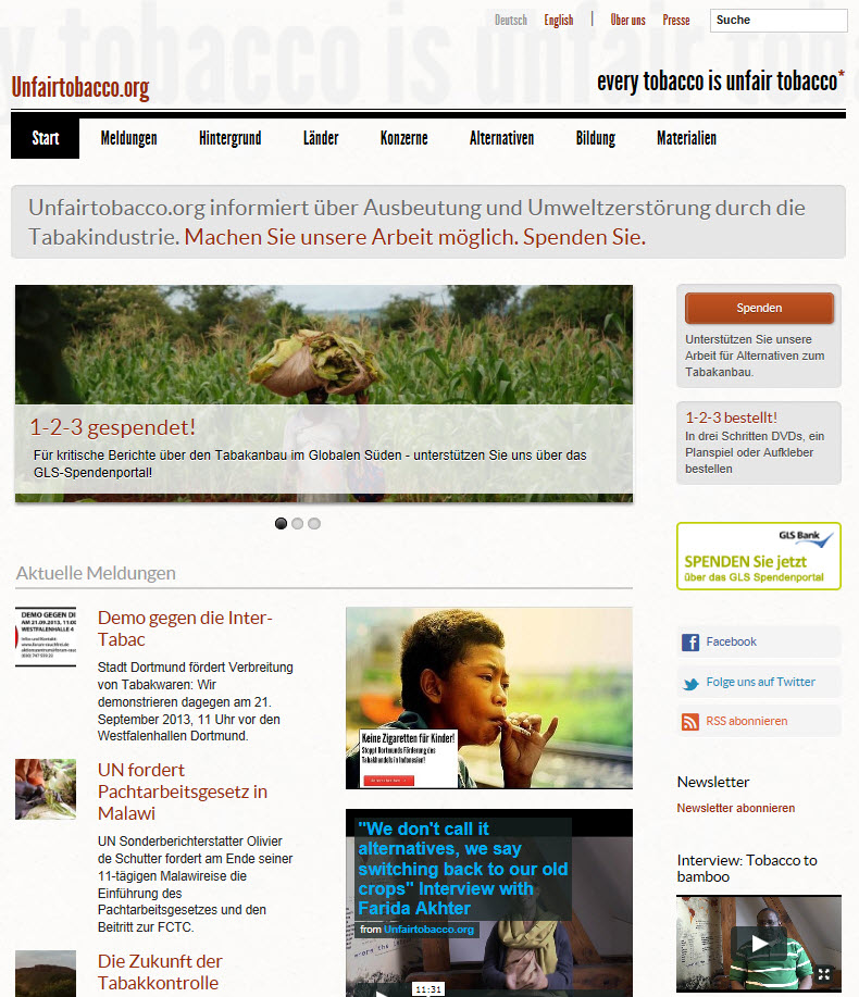 Startseite Unfairtobacco.org