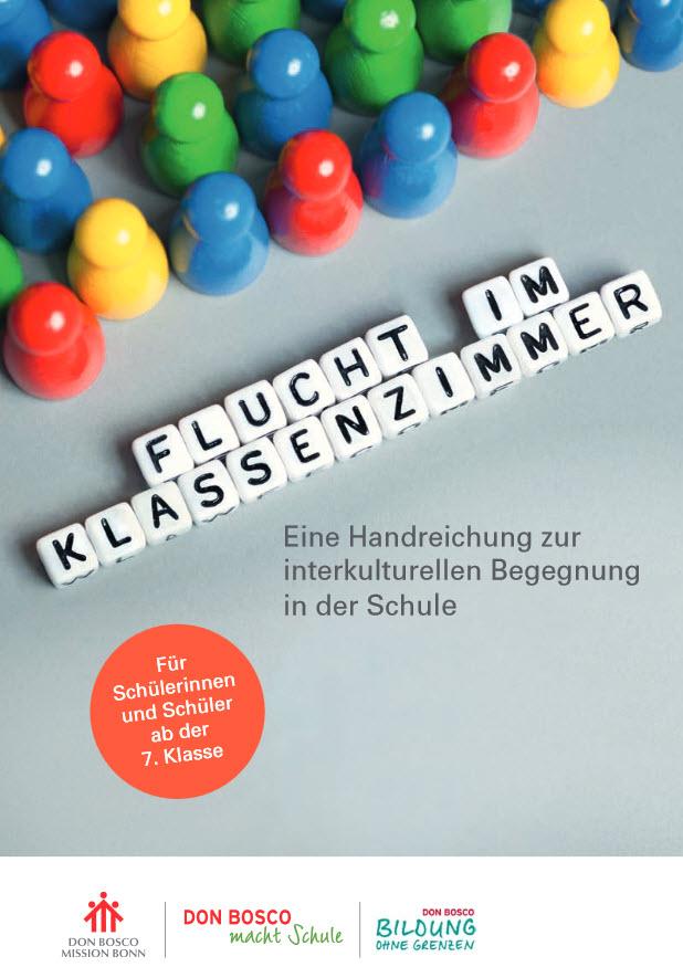 """Titelseite der Broschüre """"Flucht im Klassenzimmer"""". Quelle: donboscomission.de"""