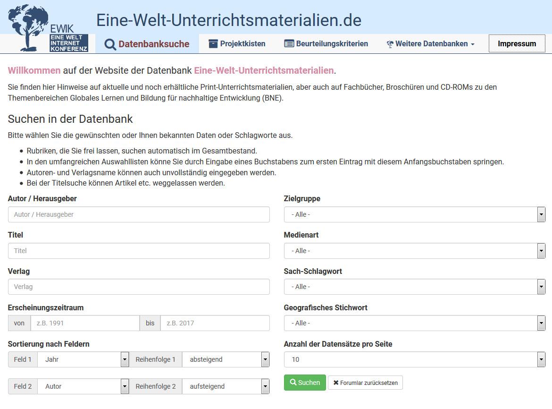 Screenshot www.eine-welt-unterrichtsmaterialien.de