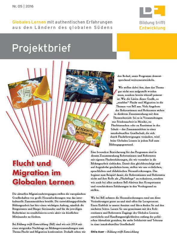 Titelseite BtE-Projektbrief Nummer 5/2016. Quelle: bildung-trifft-entwicklung.de