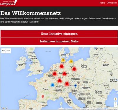 Schnappschuss Plattform, Quelle: https://willkommensnetz.campact.de