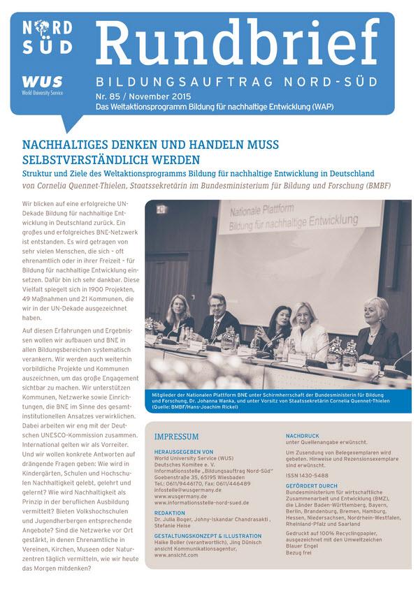 Titelblatt Rundbrief Bildungsauftrag Nord-Süd