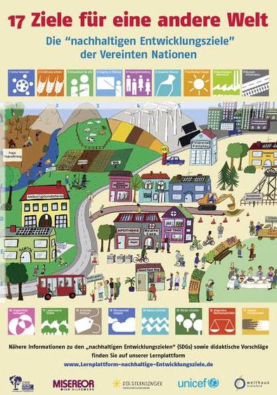 """SDG-Poster """"17 Ziele für eine bessere Welt"""". Quelle: Welthaus Bielefeld"""