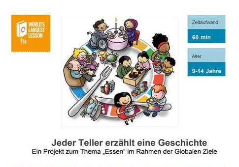 """Titelseite """"Jeder Teller erzählt eine Geschichte"""". Quelle: Unicef"""