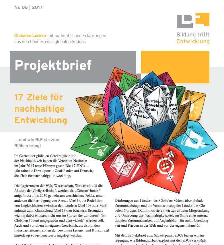Ausschnitt Titelseite Projektbrief. Quelle: bildung-trifft-entwicklung.de