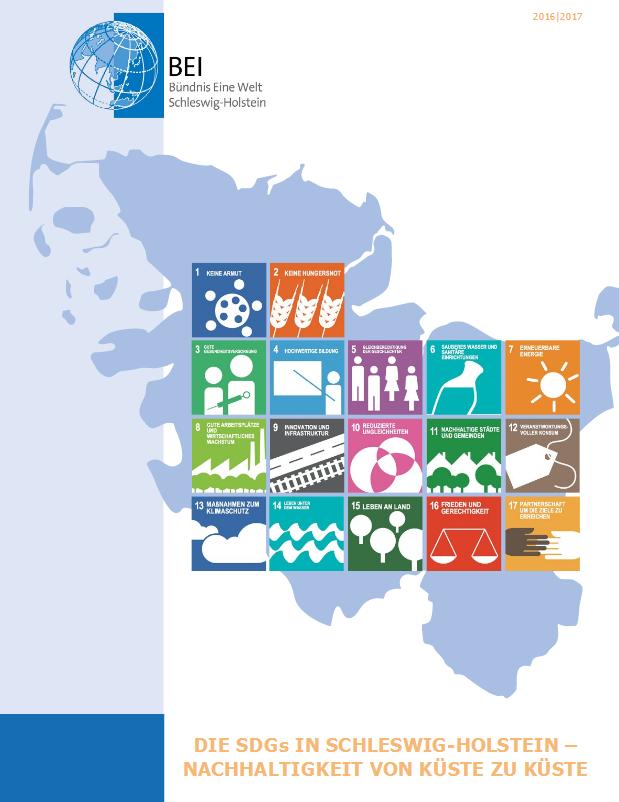 """Broschüre """"Die SDGs in Schleswig-Holstein – Nachhaltigkeit von Küste zu Küste"""" (Quelle: http://www.bei-sh.org/publikationen.html)"""