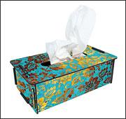 Tissuebox 503 Blau Gold Blüten