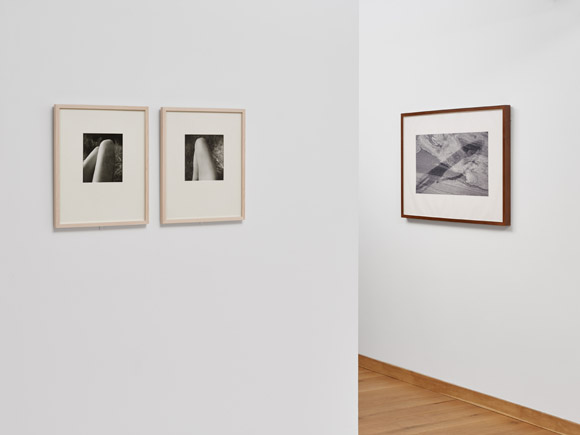 Fotografische Inkunabeln aus der Sammlung Kahmen II,  © Ivo Faber, VG BILD-KUNST Bonn, 2017; Rechts: Thomas Pöhler IXLIX, 2011, aus der Serie Steinaquarelle, Pigmentdruck auf Büttenpapier, 64 x 90 cm; Links: Wols, Zwei Beine, um 1940, Print by Georg Heusch, 1976, Wols, Ein Bein, um 1940, Print by Georg Heusch, 1976)