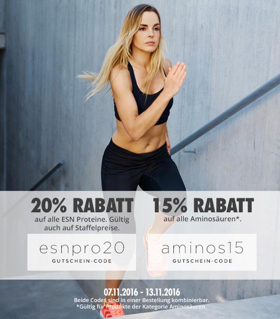 Fitmart: 20% Rabatt auf alle ESN PROTEINE & 15% Rabatt auf alle AMINOS