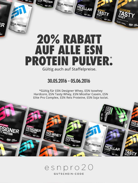 20% auf alle ESN Protein-Pulver bei Fitmart
