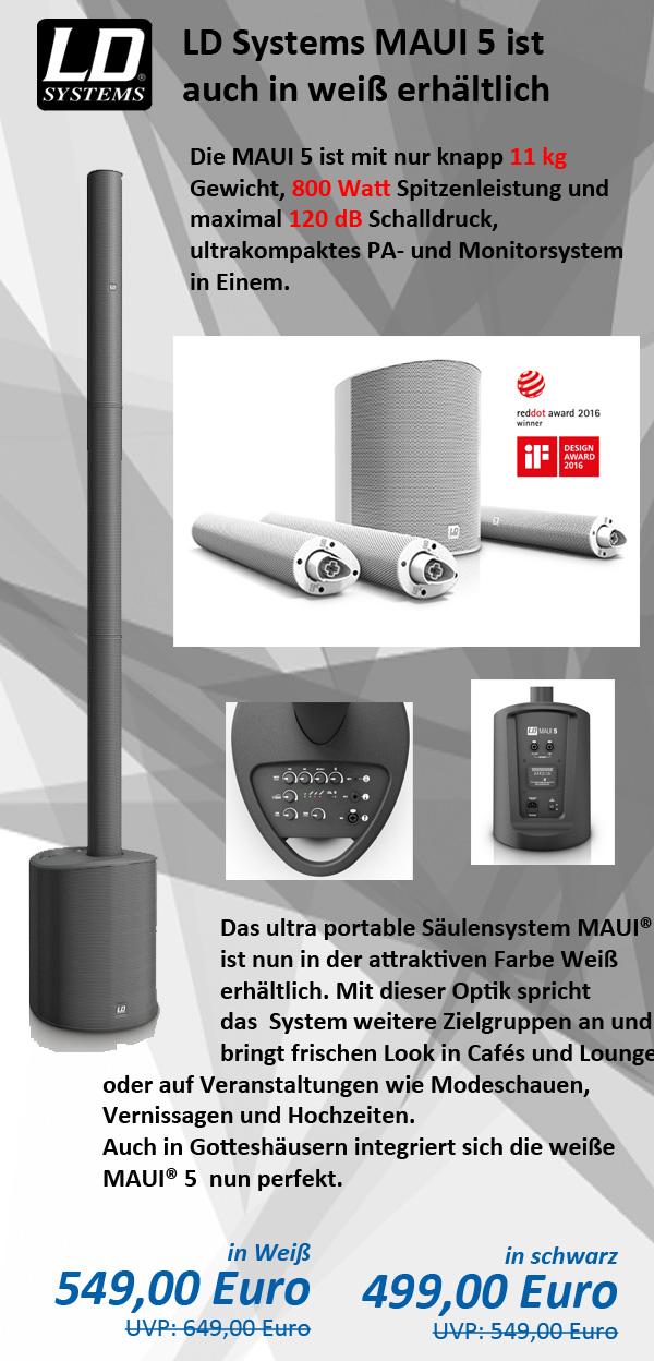 LD Systems MAUI 5 - Ultra portables Säulen PA System mit Mixer und Bluetooth