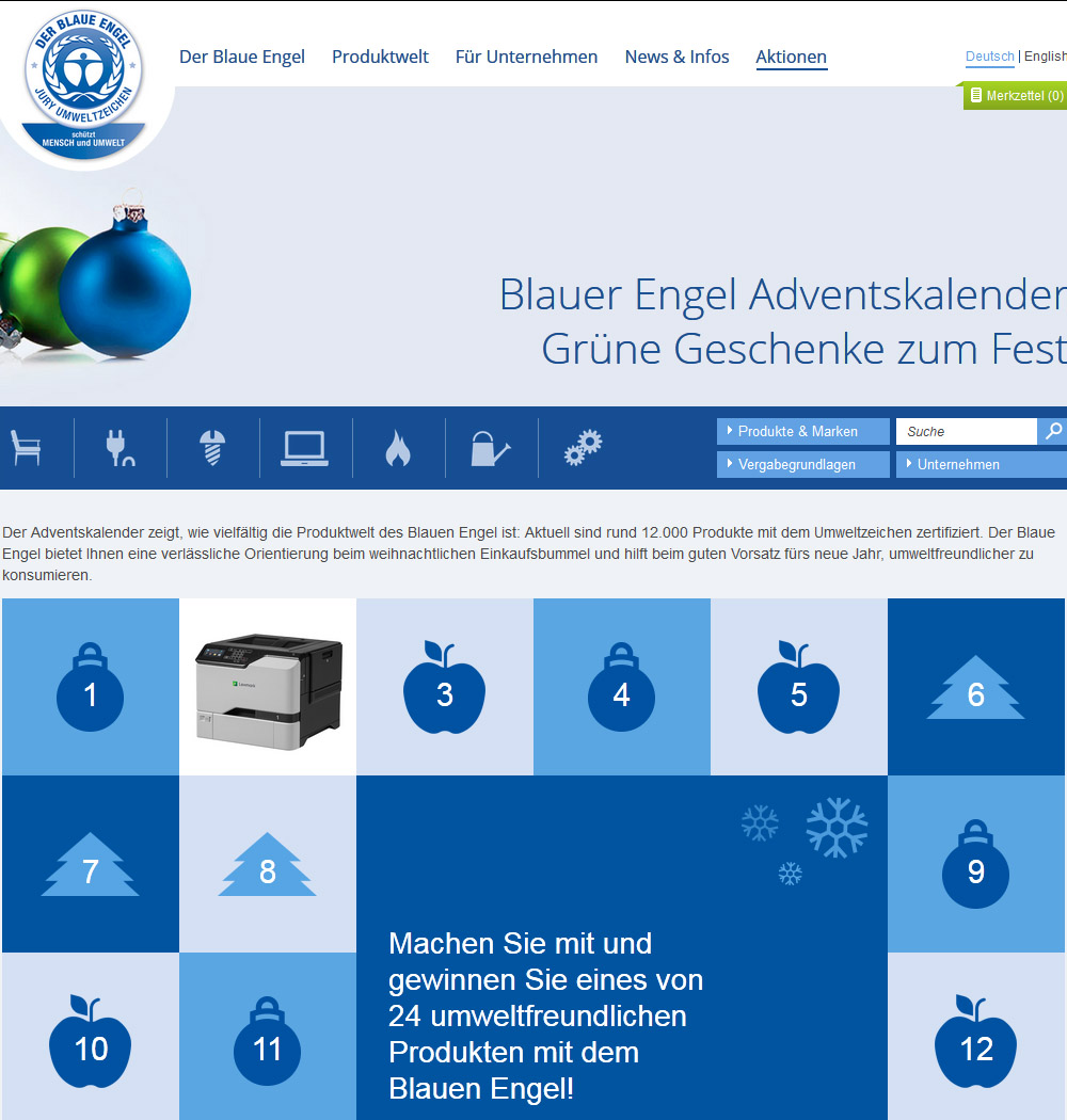 Screenshot Blauer-Engel-Adventskalender