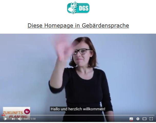Screenshot vom Gebärdensprachvideo mit Untertitel