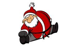 Weihnachtsmann in der Grätsche