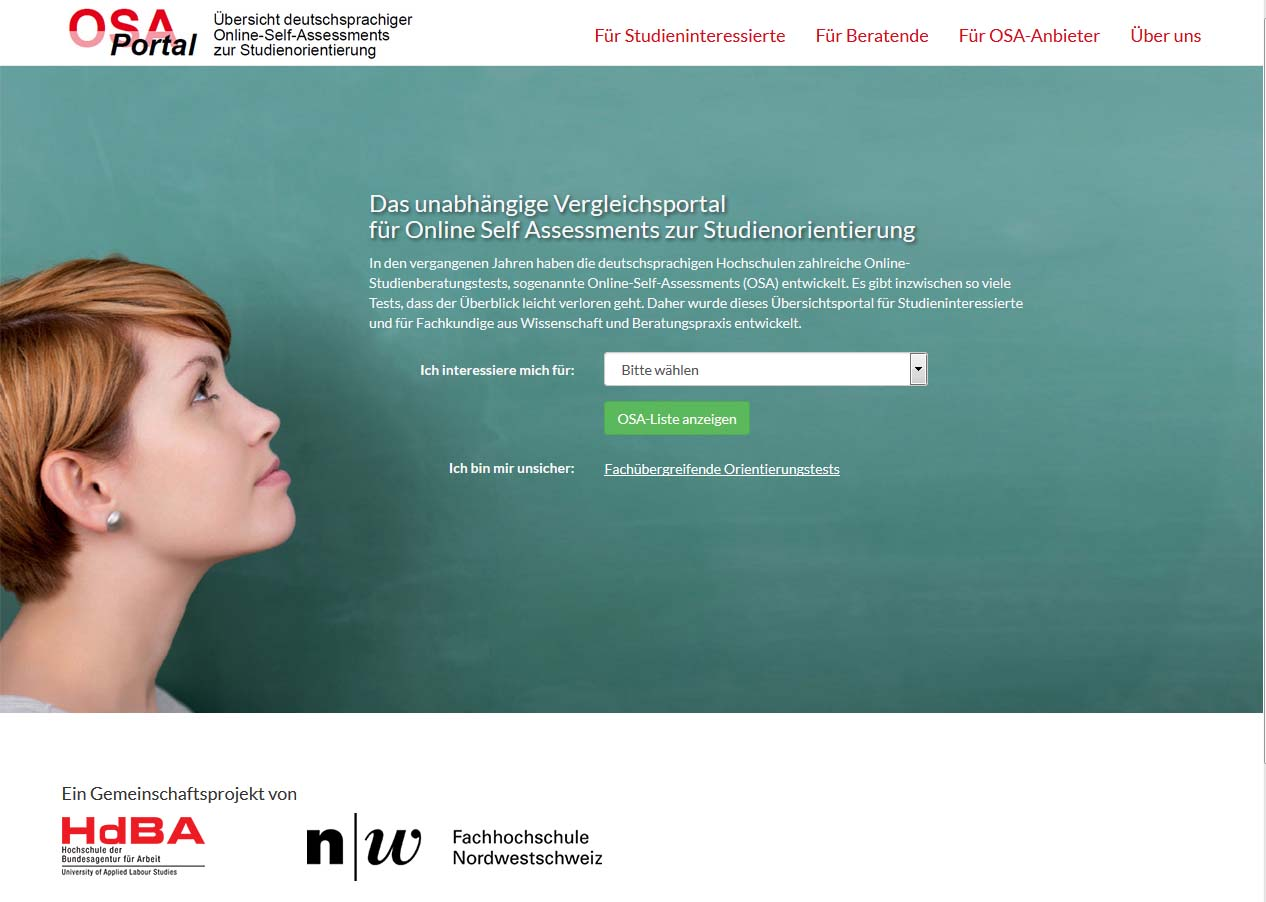 Screenshot vom OSA-Portal