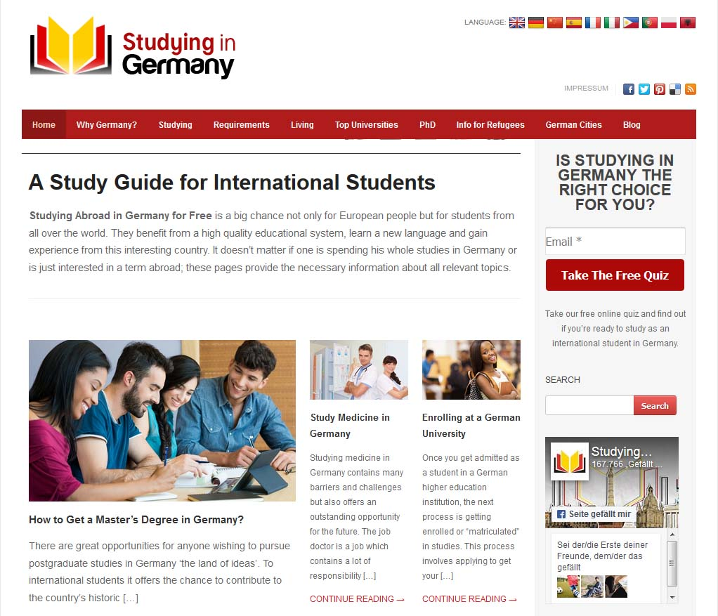 Screenshot Studying in Germany