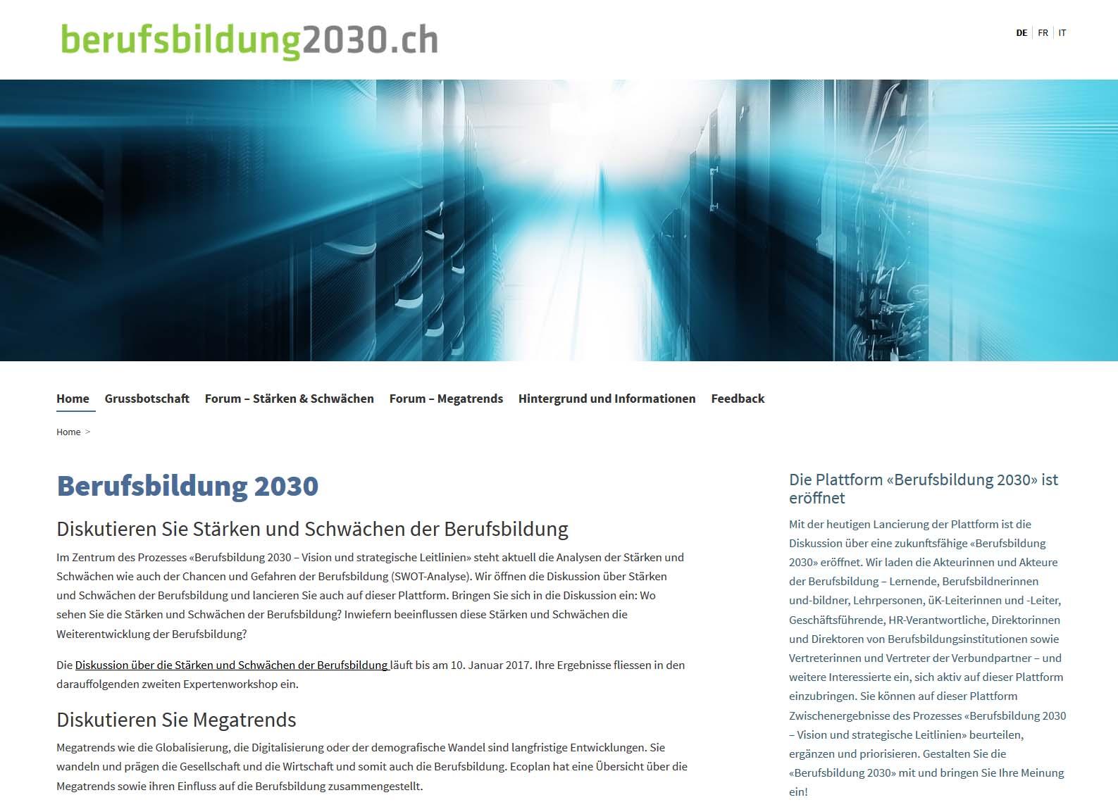 Screenshot von Berufsbildung 2030