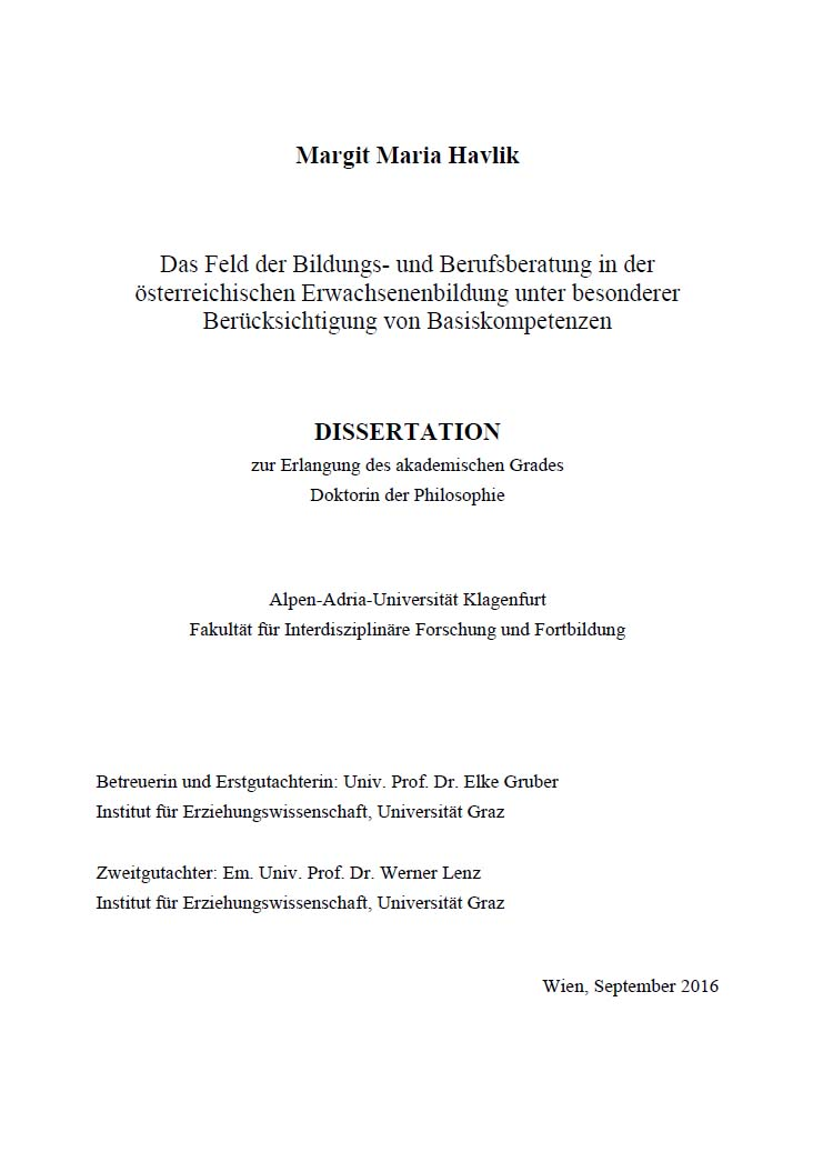 Cover Dissertation Margit Havlik