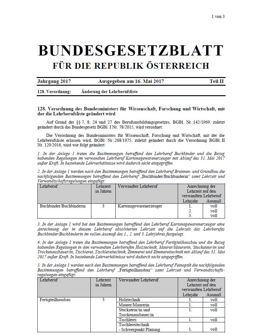 Cover Verordnung Lehrberufsliste