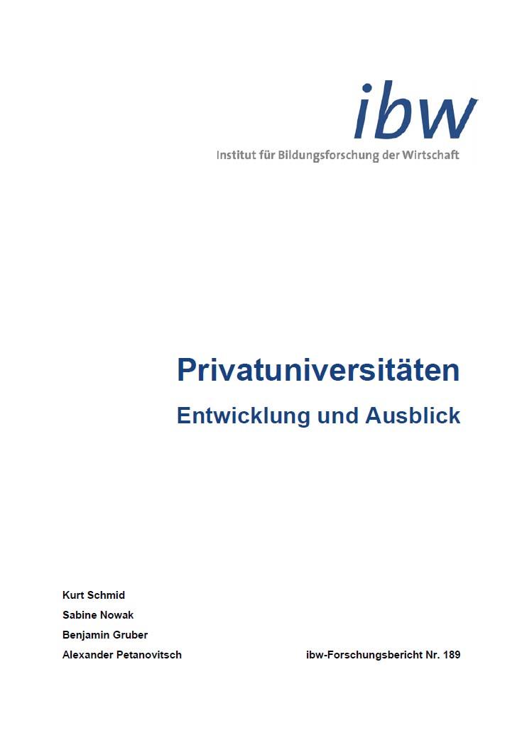 Cover ibw Studie Privatuniversitäten