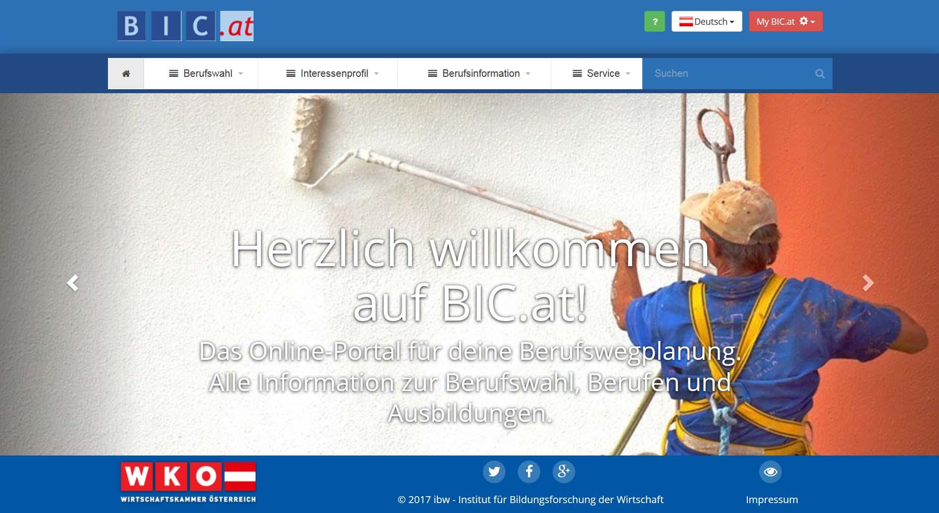 Screenshot BIC.at Startseite