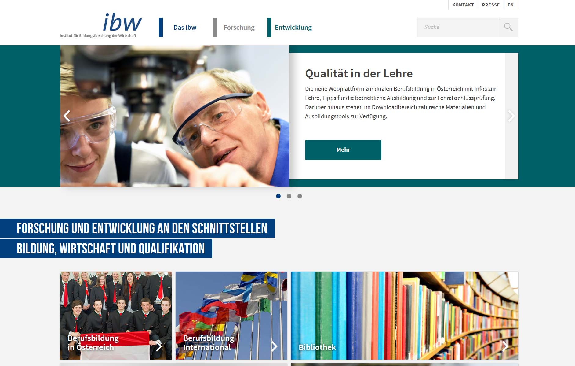 Screenshot ibw webseite