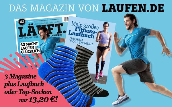 Grafik mit Cover der Zeitschrift Laufen.de
