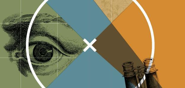 Logo des BMT 2021, Illustration in den Farben Khaki, Taubenblau und Rostorgane mit einem Fadenkreuz, in dem sich ein Auge und ein Fernglas befinden
