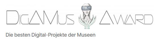 Logo des DigAMus-Awards, schwarze futuristische Typographie mit einer illustrierten Büste auf weißem Untergrund