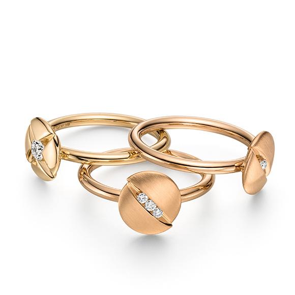 3 Ringe aus 18kt Gold die zu einem Ring kombiniert werden können