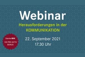 Webinar 22.09.: Herausforderungen in der Kommunikation