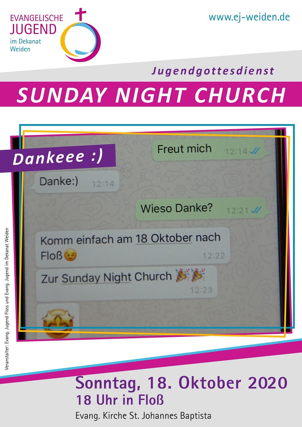 Plakat Sunday Night Church in Floß