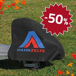 Hahn Zelte PVC Deichselschutzhaube mit Aufdruck, Farbe schwarz