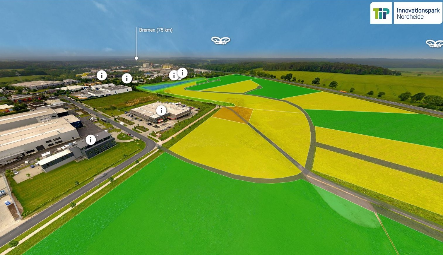 Rundflug über den Tip Innovationspark Nordheide