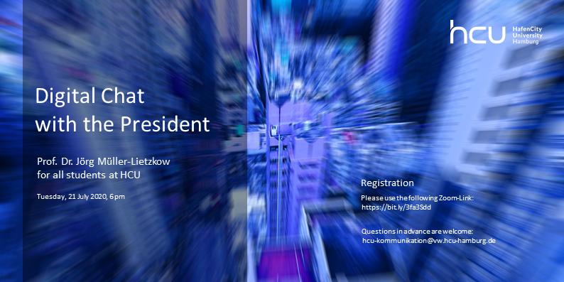 Einladungsflyer digitaler Chat mit HCU-Präsidenten